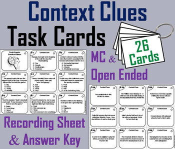 Context Clues Task Cards 3rd, 4th, 5th, 6th Grade Vocabula
