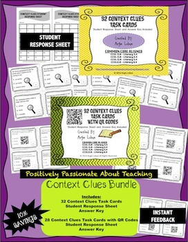 Context Clues Task Cards Bundle: 2 SETS of Vocabulary Buil