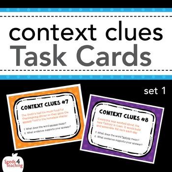 Context Clues Task Cards - Set 1