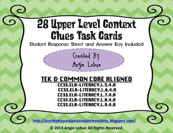 Context Clues Task Cards (Upper Level): Common Core and TE