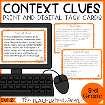 Context Clues Task Cards for 3rd Grade Set 2