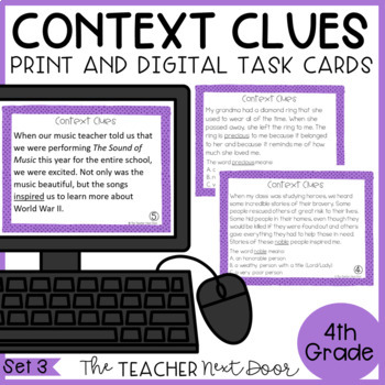 Context Clues Task Cards for 4th Grade Set 3