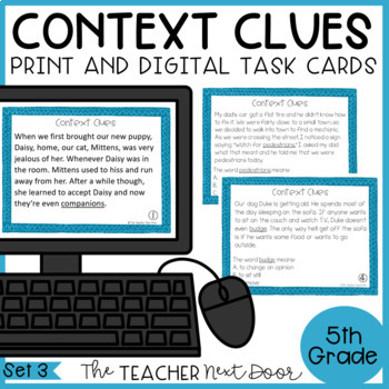 Context Clues Task Cards for 5th Grade Set 3