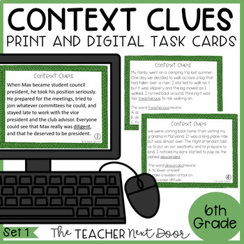 Context Clues Task Cards for 6th Grade Set 1