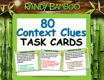 Context Clues Task Cards and Test