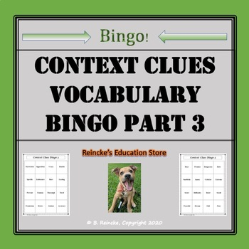 Context Clues Vocabulary Bingo Part III (30 pre-made cards!)