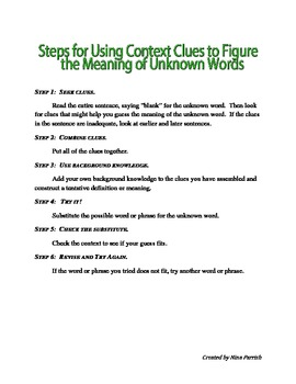 Context Clues Warm Up and Notes