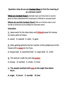 Context clues practice sentences