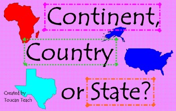 Continent, Country or State SMARTBoard Activities