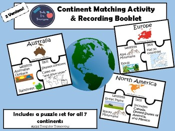 Continent Matching Activity