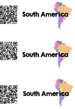 Continent Study- South America QR Scavenger Hunt
