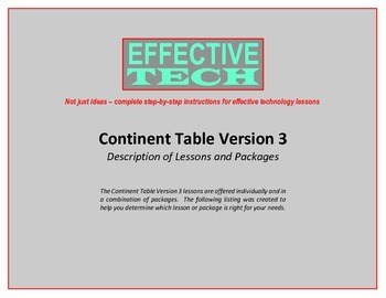Continent Table Version 3 Description of Lessons and Packages