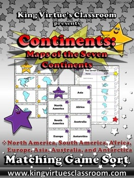 Continents: Maps of the Seven Continents Matching Game Sor