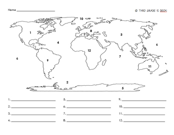 Continents & Oceans Map Assessment (w/ A.Key)