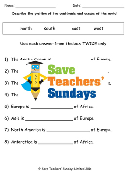 Continents, Oceans and Compass Points Lesson plan, Map and