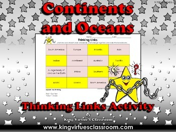 Continents and Oceans Thinking Links Activity - King Virtu