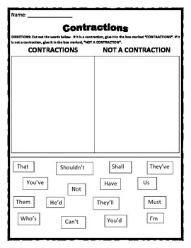 Contraction Activity - Cut & Paste Contraction into the co