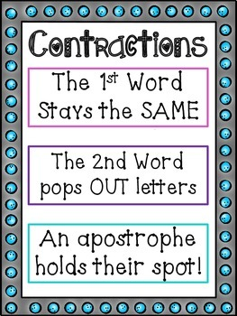 Contraction Anchor Chart + Matching Game [CC Aligned]