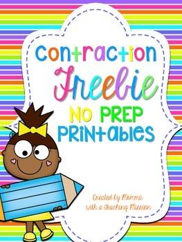 Contraction Freebie No Prep Printables
