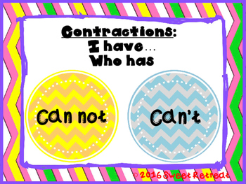 Contractions I Have Who Has
