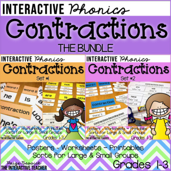 Contractions: Posters, Sorts & Worksheets {BUNDLE}