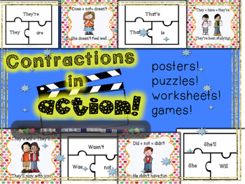 Contractions in Action- Grammar Lesson, Activities, Poster