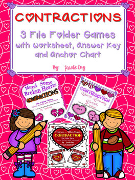 Contractions - 3 Center Activities (Puzzle, Memory Game, I