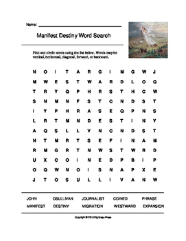 Manifest Destiny Word Search (Grades 3-5)