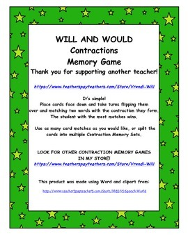 Contractions Memory Game (WILL & WOULD contractions)