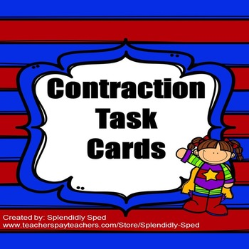 Contractions Task Cards for 1st and 2nd grade