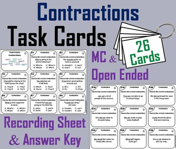 Contractions Task Cards/ Contractions Activity/ Grammar Ta