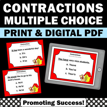 Contractions Task Cards Games Worksheets & Quiz