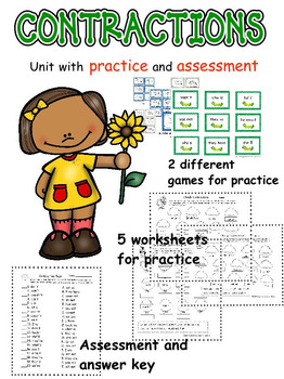 Contractions Unit with Worksheets, Games, and Assessment