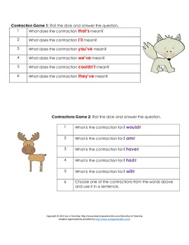 Contractions Word Dice Game - Language Arts for Small Grou
