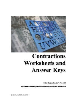 Contractions Worksheets and Answer Key