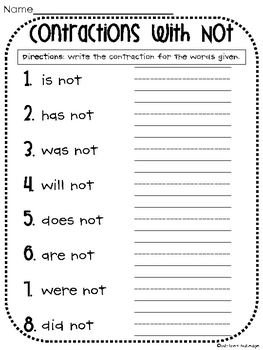 Printables Contractions Worksheet contractions with not worksheet by whitney gulledge teachers pay worksheet