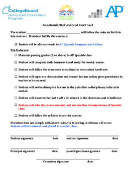 Contrato académico   Behavior & Academic Contract for Span