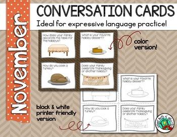 Conversation Cards/ Expressive Language Practice/ November