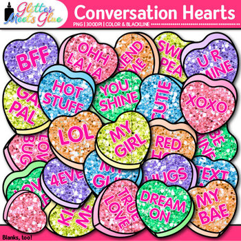 Conversation Hearts Clip Art {Cute Valentine's Day Graphic
