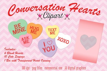 Conversation Hearts Clipart, Valentine's Day Candy Hearts
