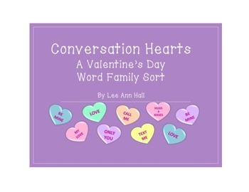 Conversation Hearts Short Vowel Word Family Sorts - A Vale