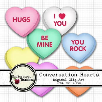 Conversation Hearts Valentine's Day Digital Clipart Color