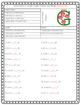 Conversion Worksheet - Liquid, Volume, and Weight