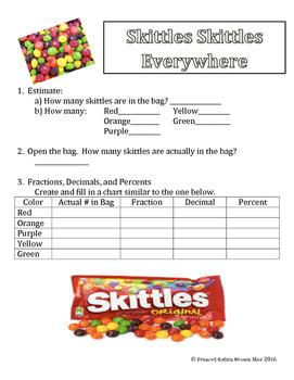 Convert Fraction, Decimal, Percent Skittles