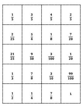 Convert Fraction to Percent Bingo
