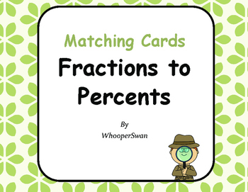 Convert Fractions to Percents Matching Cards