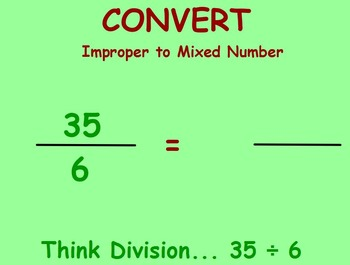 Convert Improper Fractions to Mixed Numbers, Flipchart
