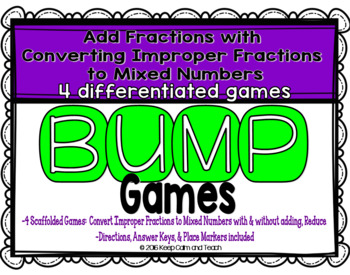 Improper Fractions and Mixed Numbers Games {4 Differentiat