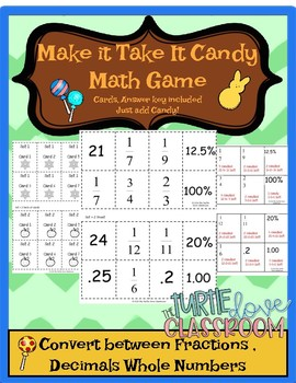 Convert Rational Numbers into Percents and Fractions  Candy Game