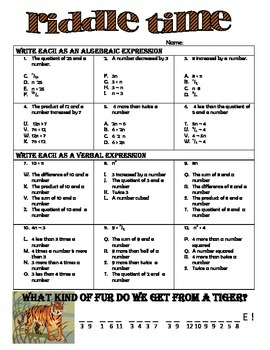 Converting Algebraic & Verbal Expressions Riddle Time